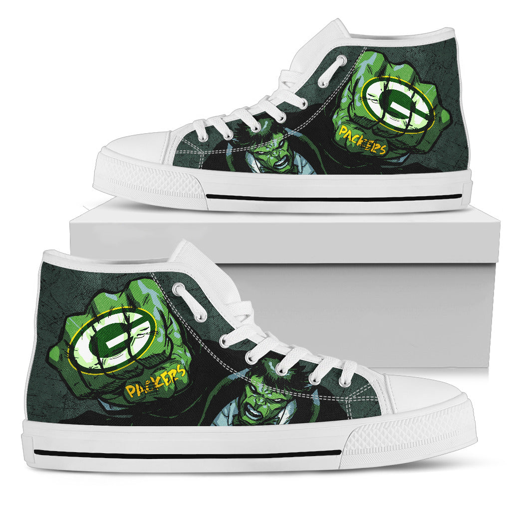 Hulk Punch Green Bay Packers High Top Shoes