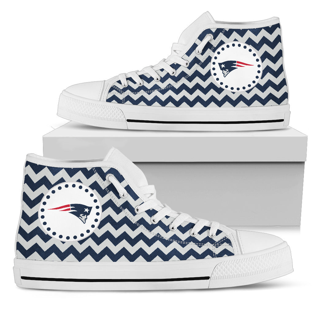 Chevron Broncos New England Patriots High Top Shoes