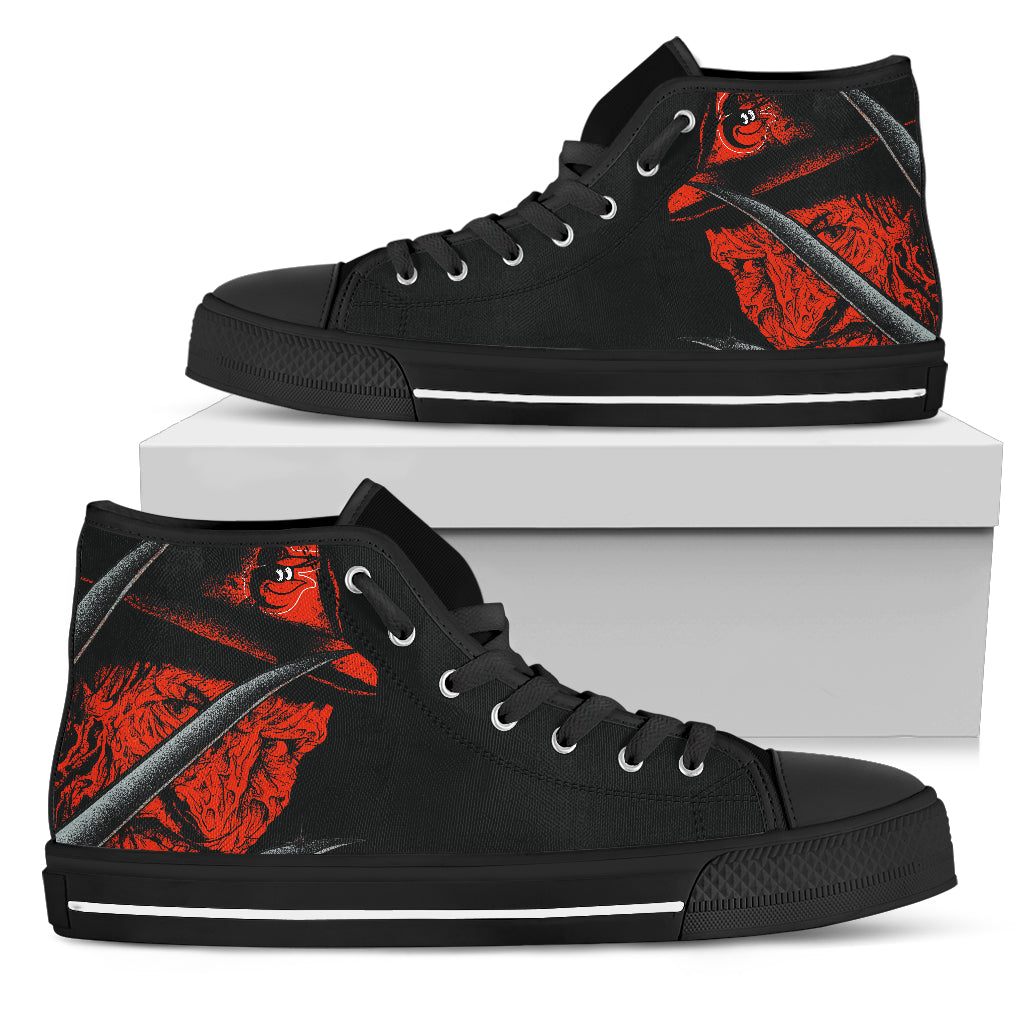 Baltimore Orioles Nightmare Freddy Colorful High Top Shoes