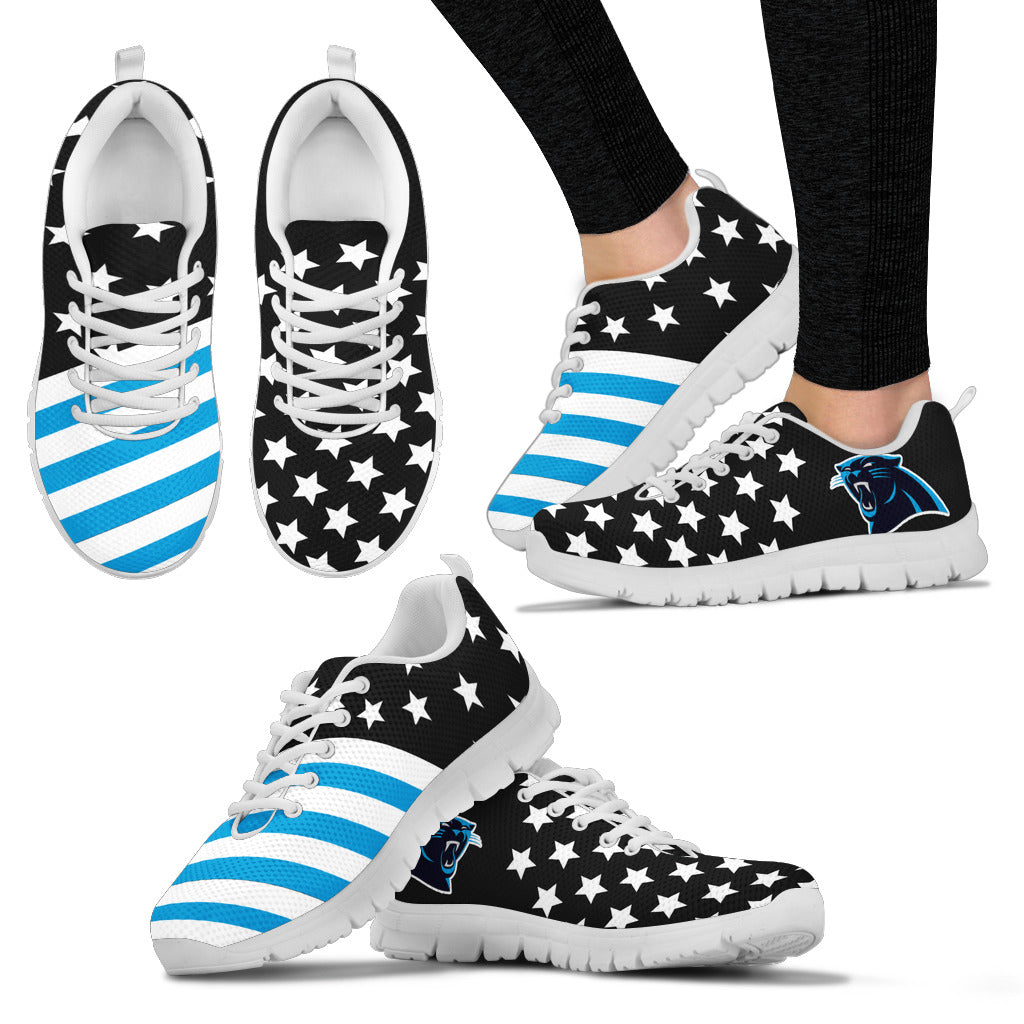 America Flag Full Stars Stripes Carolina Panthers Sneakers
