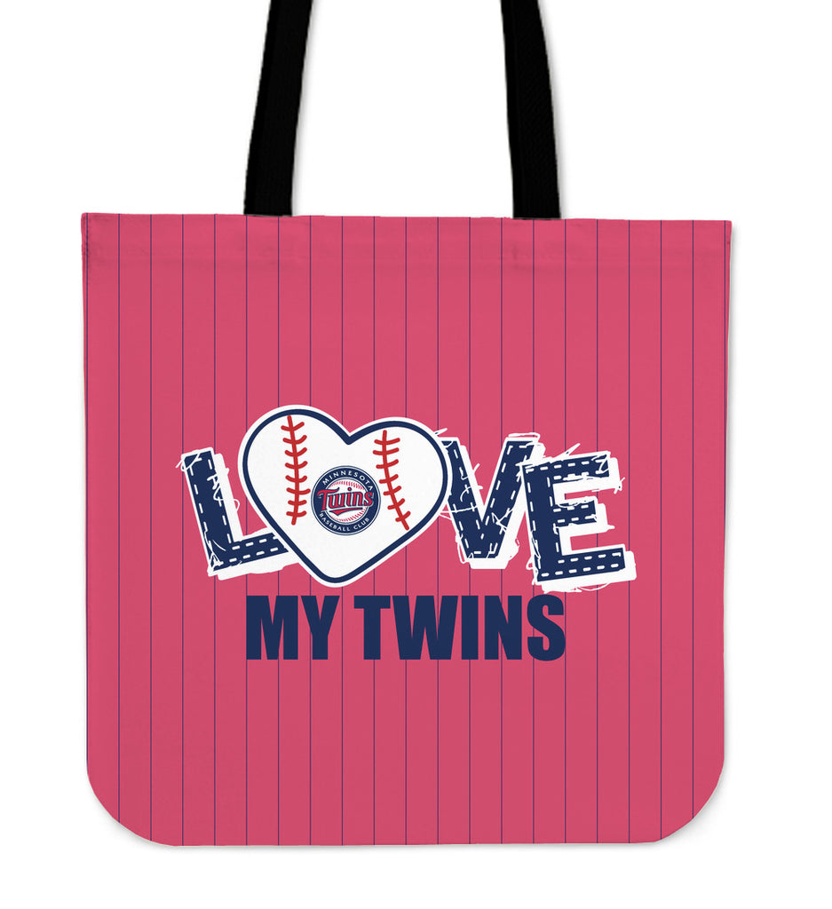 Love My Minnesota Twins Vertical Stripes Pattern Tote Bags