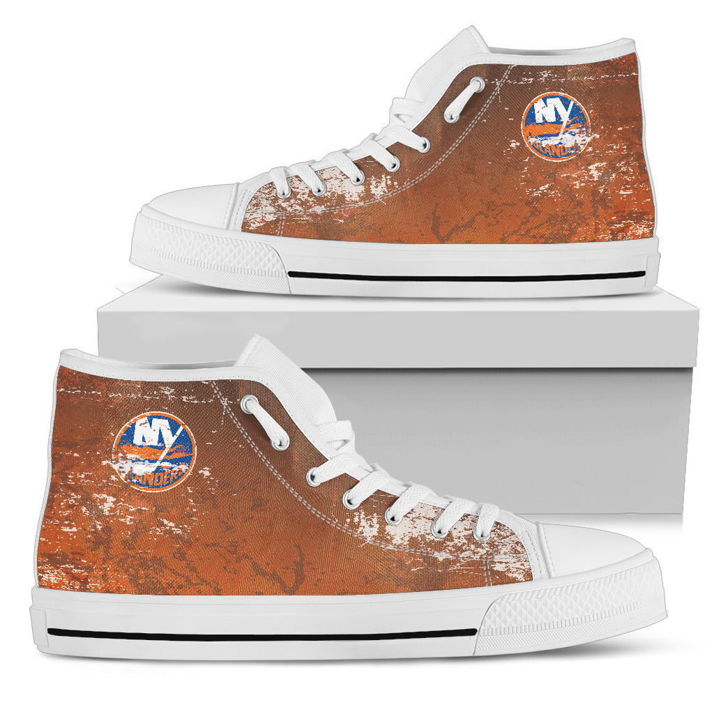 Grunge Vintage Logo New York Islanders High Top Shoes