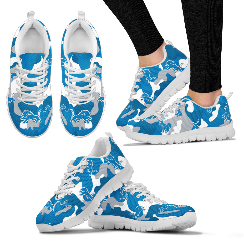 Detroit Lions Cotton Camouflage Fabric Military Solider Style Sneakers