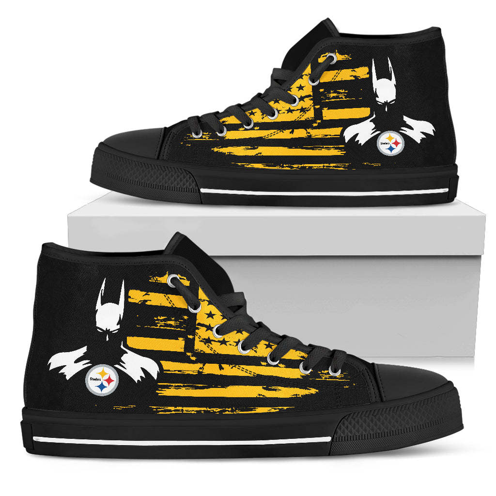 Batman Style Big Pittsburgh Steelers High Top Shoes