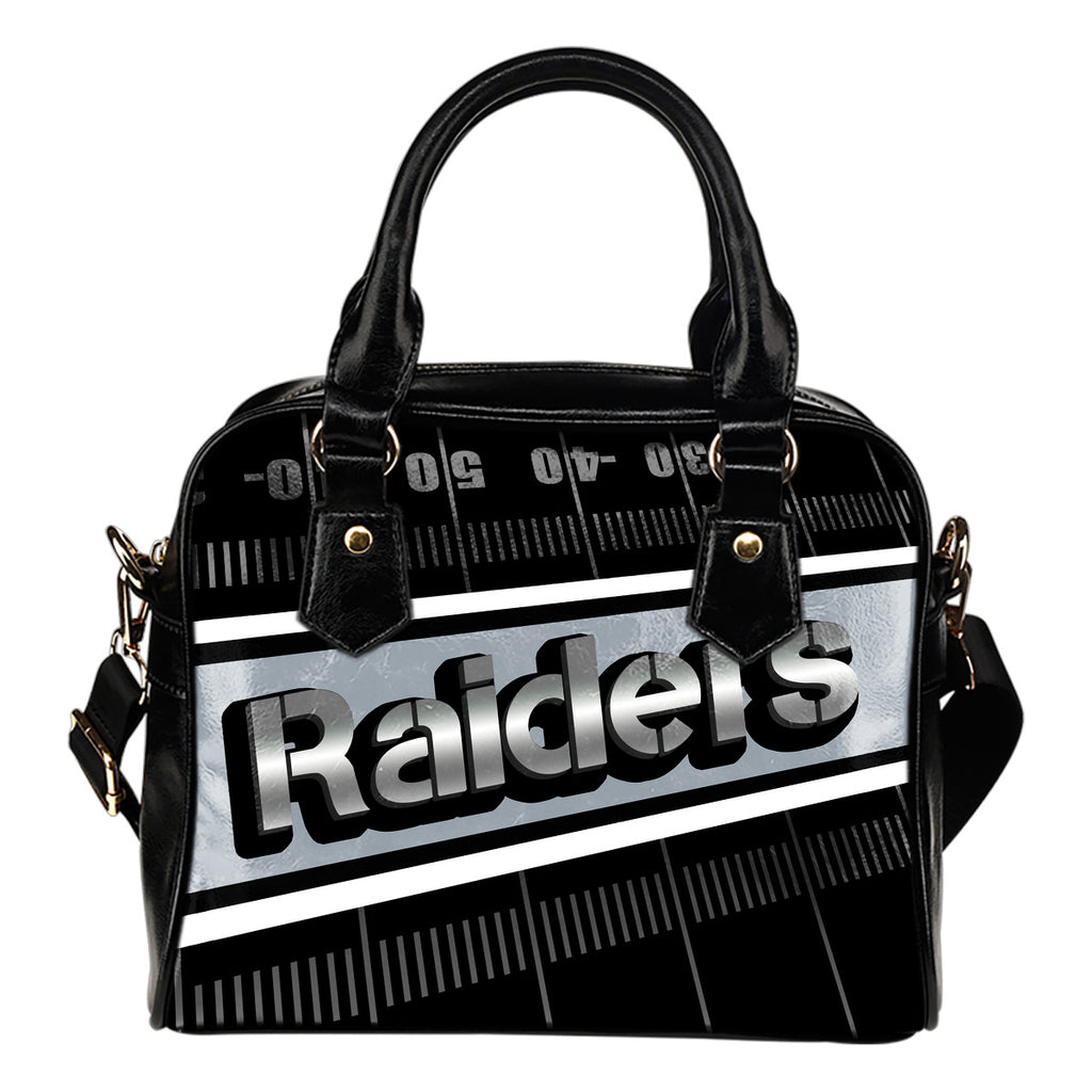 Oakland Raiders Silver Name Colorful Shoulder Handbags