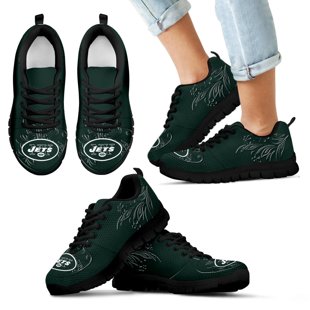 Lovely Floral Print New York Jets Sneakers