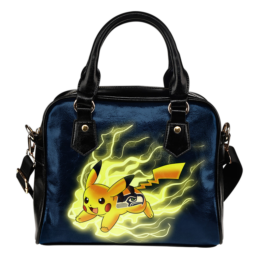 Pikachu Angry Moment Seattle Seahawks Shoulder Handbags