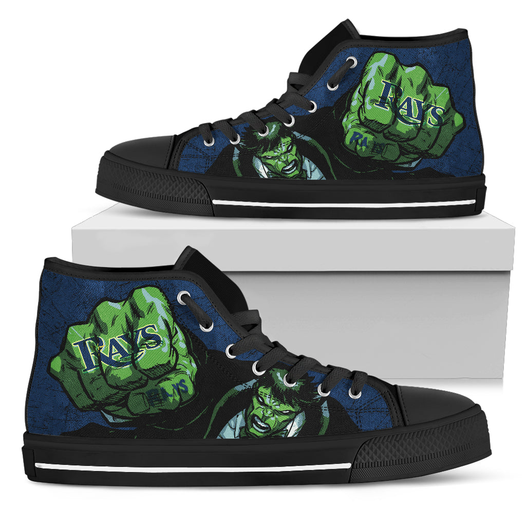 Hulk Punch Tampa Bay Rays High Top Shoes