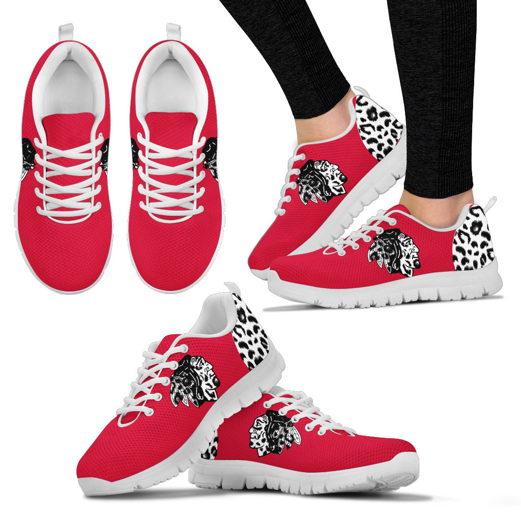 Cheetah Pattern Fabulous Chicago Blackhawks Sneakers