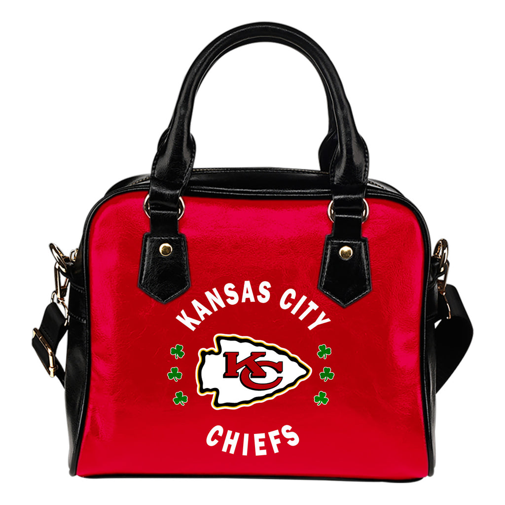 Central Beautiful Logo Circle Lucky Leaf Kansas City Chiefs Shoulder Handbags