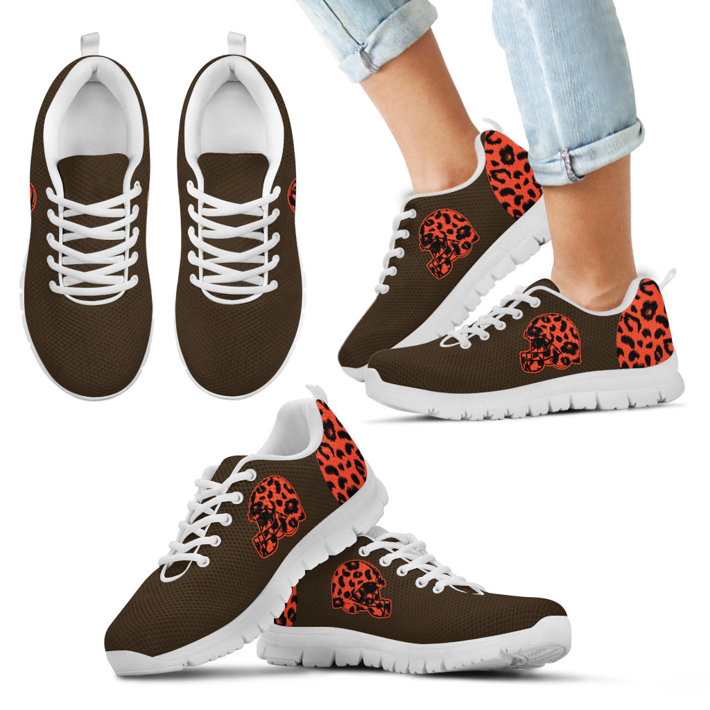 Cheetah Pattern Fabulous Cleveland Browns Sneakers