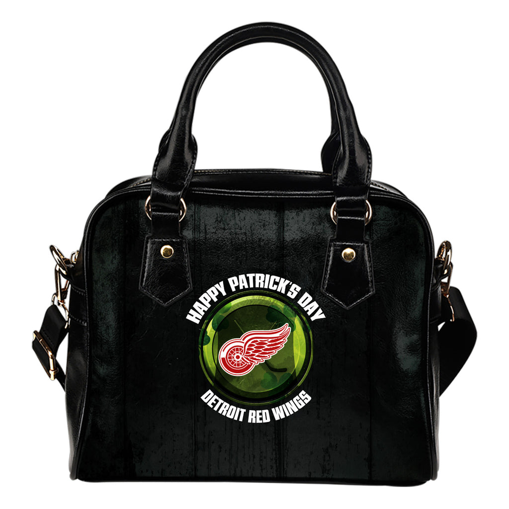 Retro Scene Lovely Shining Patrick's Day Detroit Red Wings Shoulder Handbags