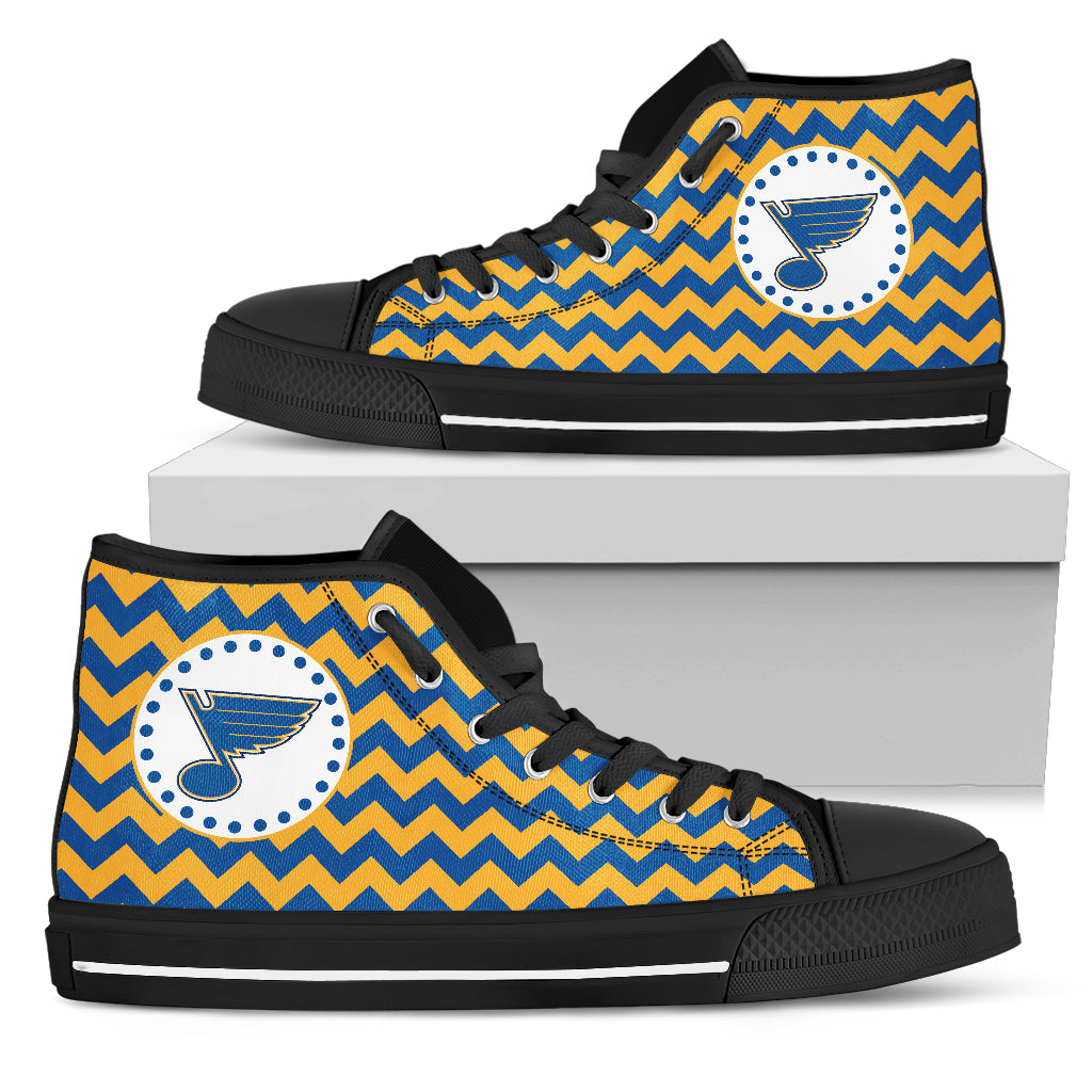 Chevron Broncos St. Louis Blues High Top Shoes