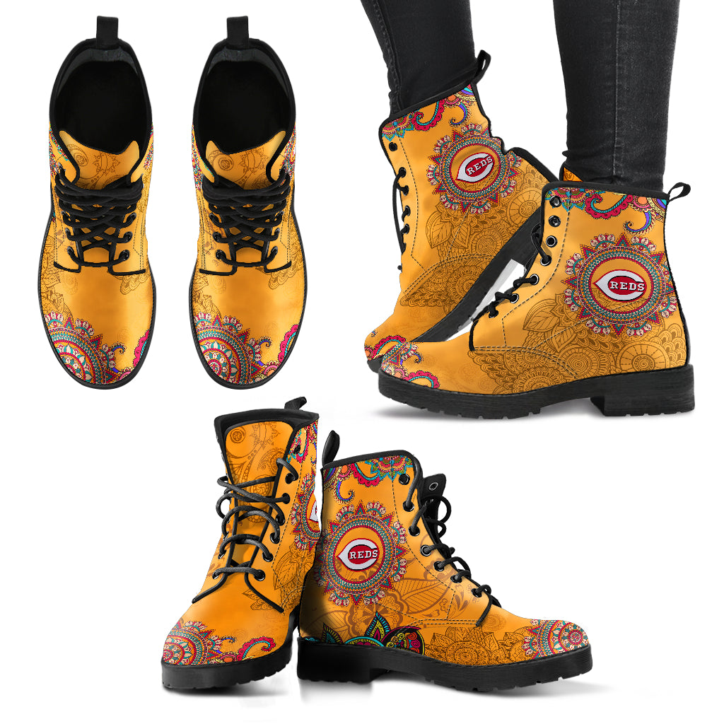 Golden Peace Hand Crafted Awesome Logo Cincinnati Reds Leather Boots
