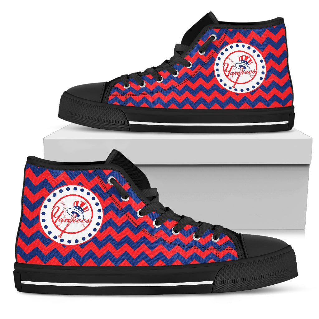 Chevron Broncos New York Yankees High Top Shoes