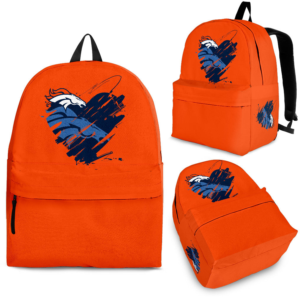 Heart Painting Denver Broncos Backpacks