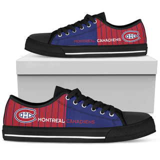Simple Design Vertical Stripes Montreal Canadiens Low Top Shoes
