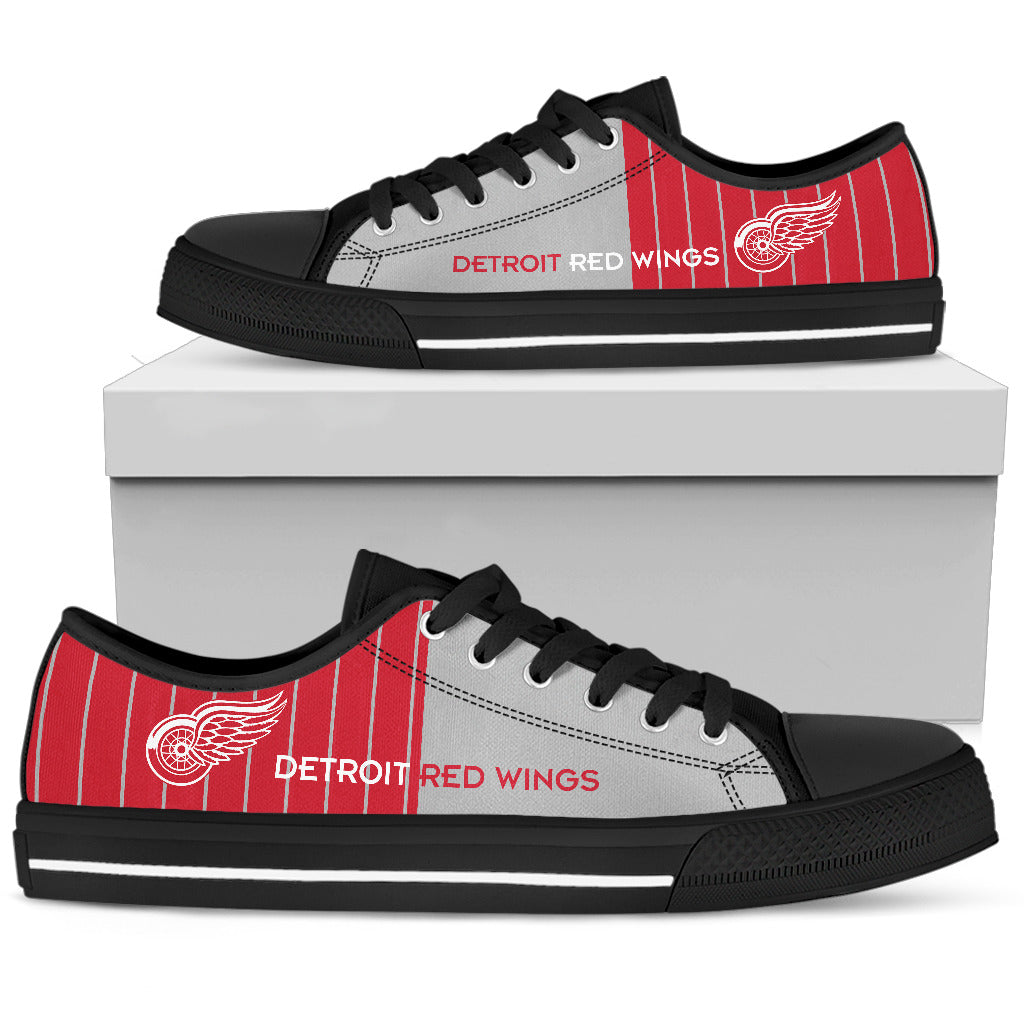 Simple Design Vertical Stripes Detroit Red Wings Low Top Shoes