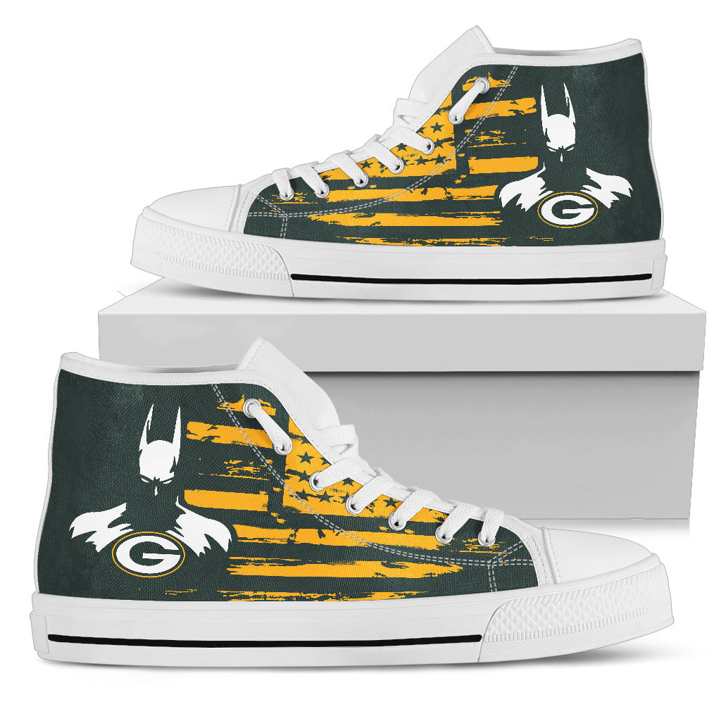 Batman Style Big Green Bay Packers High Top Shoes