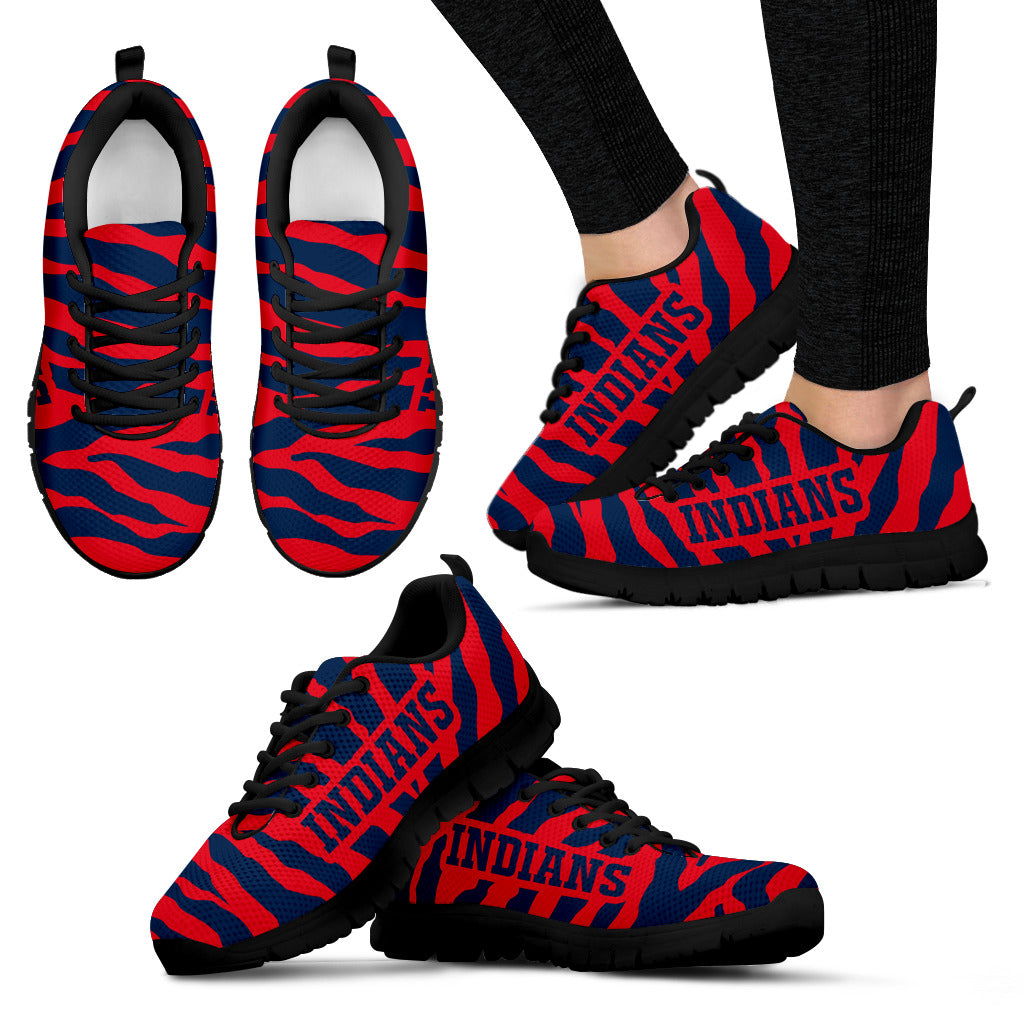 Tiger Skin Stripes Pattern Print Cleveland Indians Sneakers