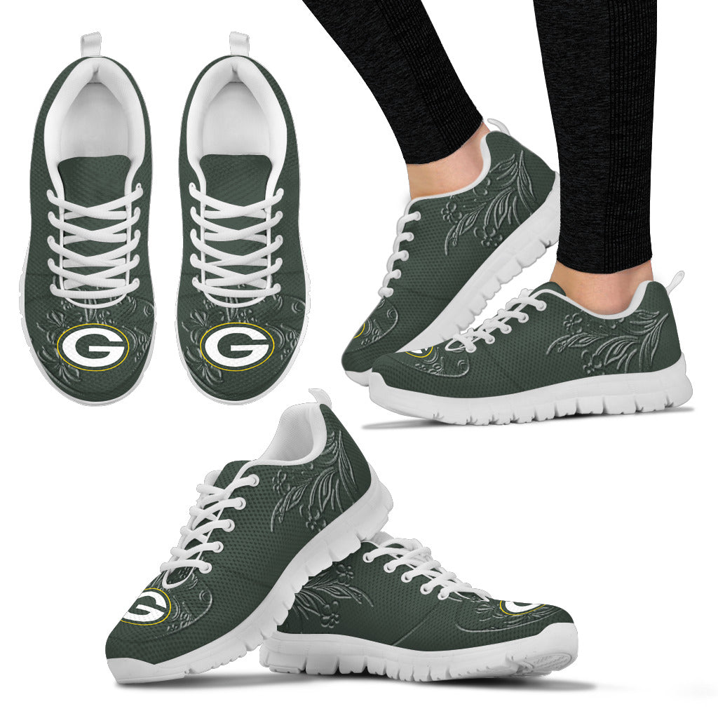 Lovely Floral Print Green Bay Packers Sneakers