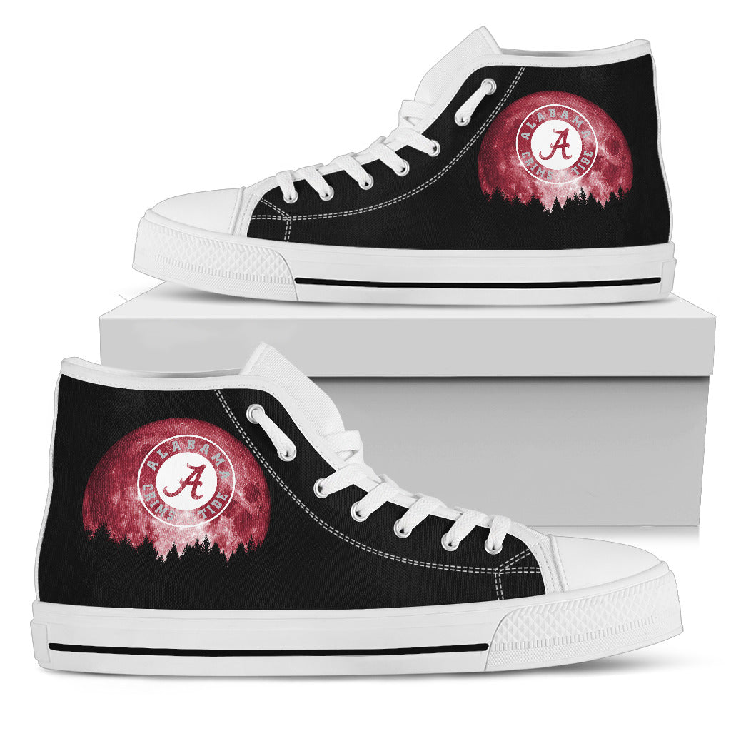 Halloween Orange Moon Mystery Alabama Crimson Tide High Top Shoes