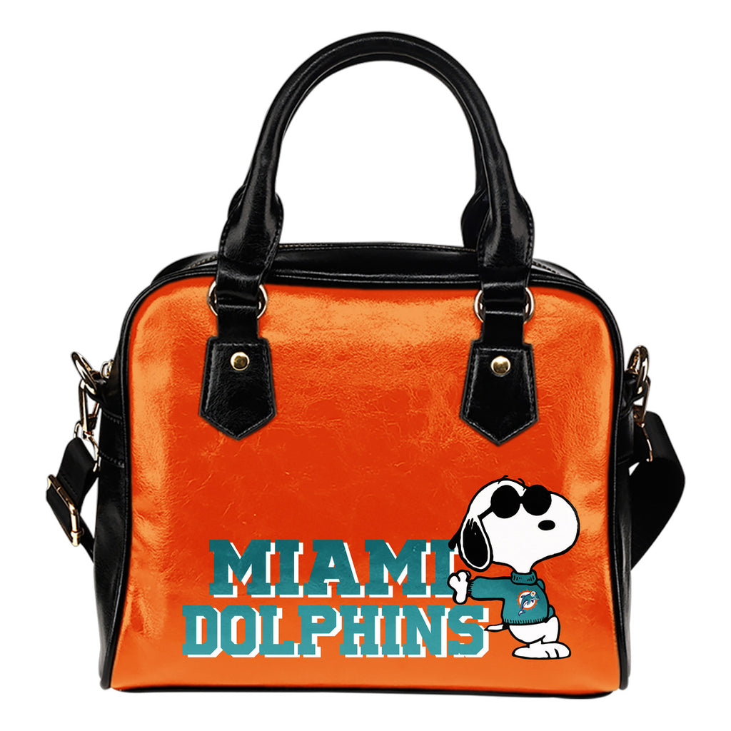 Miami Dolphins Cool Sunglasses Snoopy Shoulder Handbags Women Purse