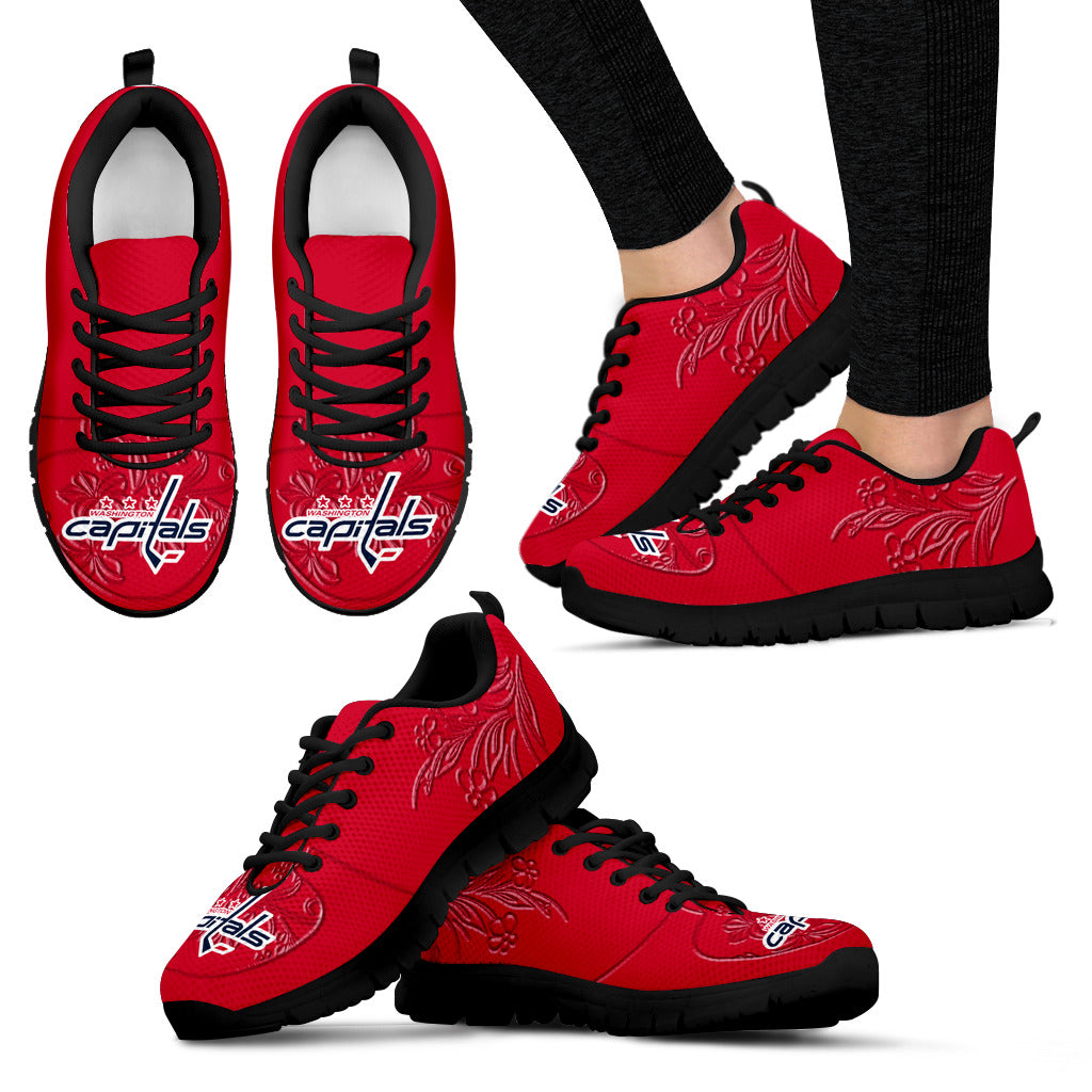 Lovely Floral Print Washington Capitals Sneakers