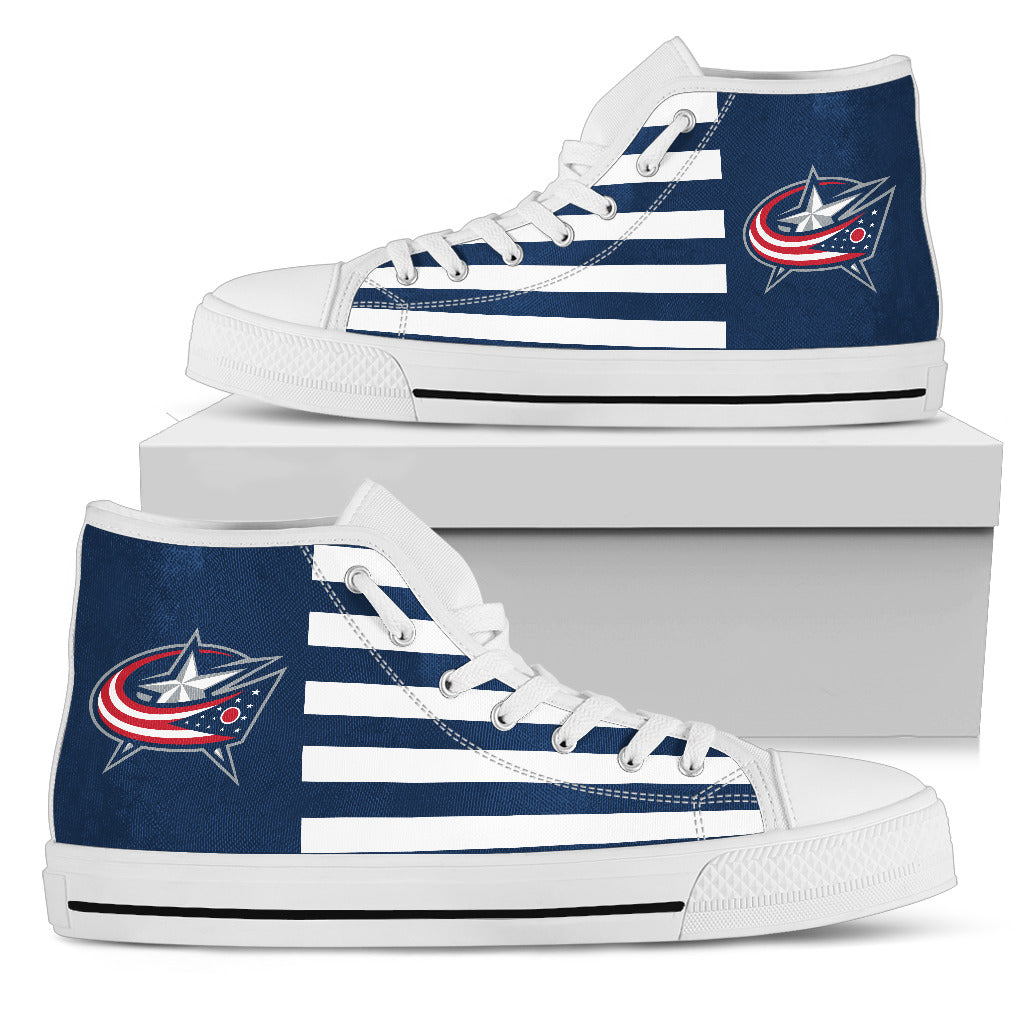 American Flag Columbus Blue Jackets High Top Shoes