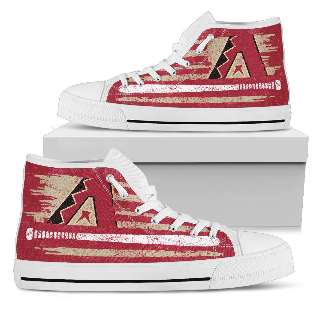American Flag Vintage Baseball Arizona Diamondbacks High Top Shoes