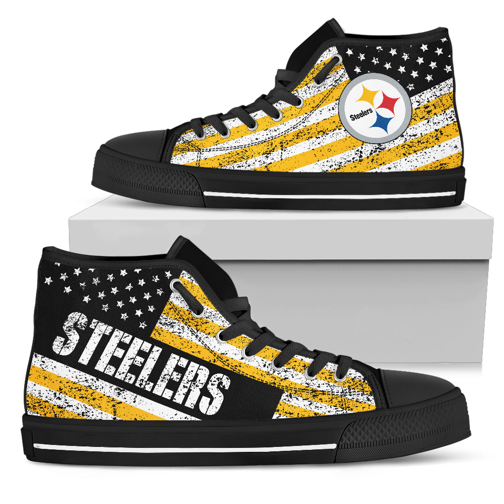 f139ffe2d915 ... America Flag Italic Vintage Style Pittsburgh Steelers High Top Shoes ...