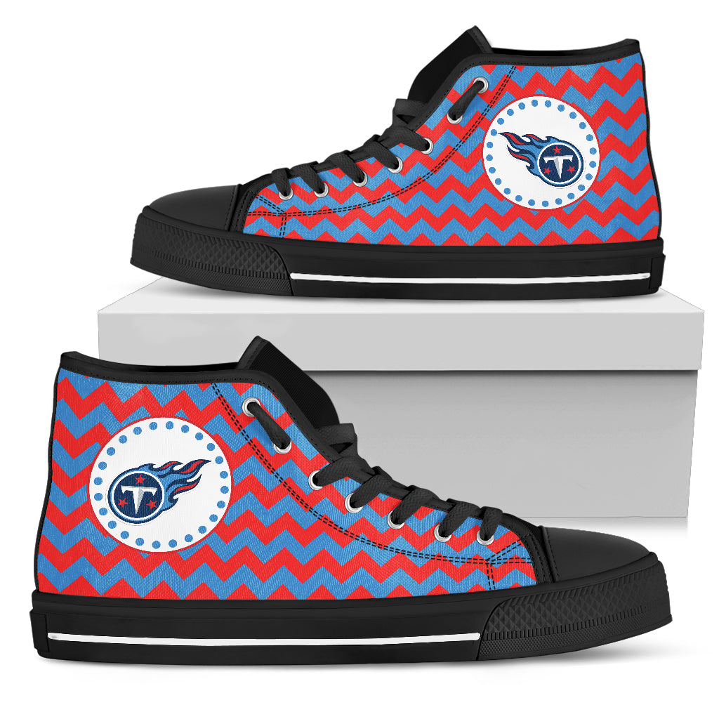 Chevron Broncos Tennessee Titans High Top Shoes