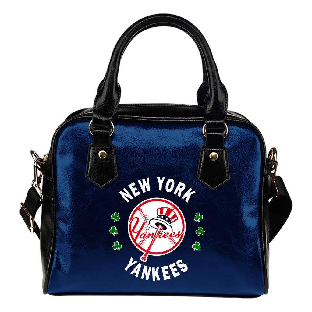 Central Beautiful Logo Circle Lucky Leaf New York Yankees Shoulder Handbags