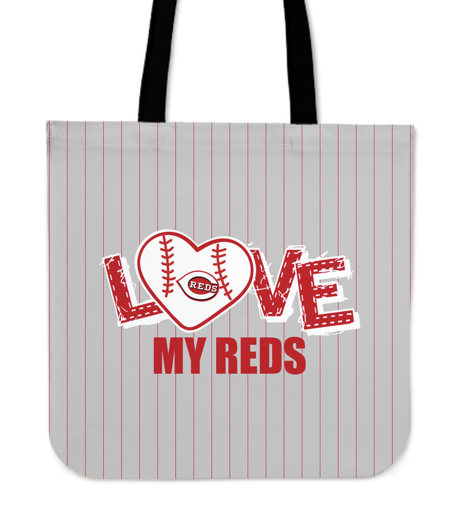 Love My Cincinnati Reds Vertical Stripes Pattern Tote Bags