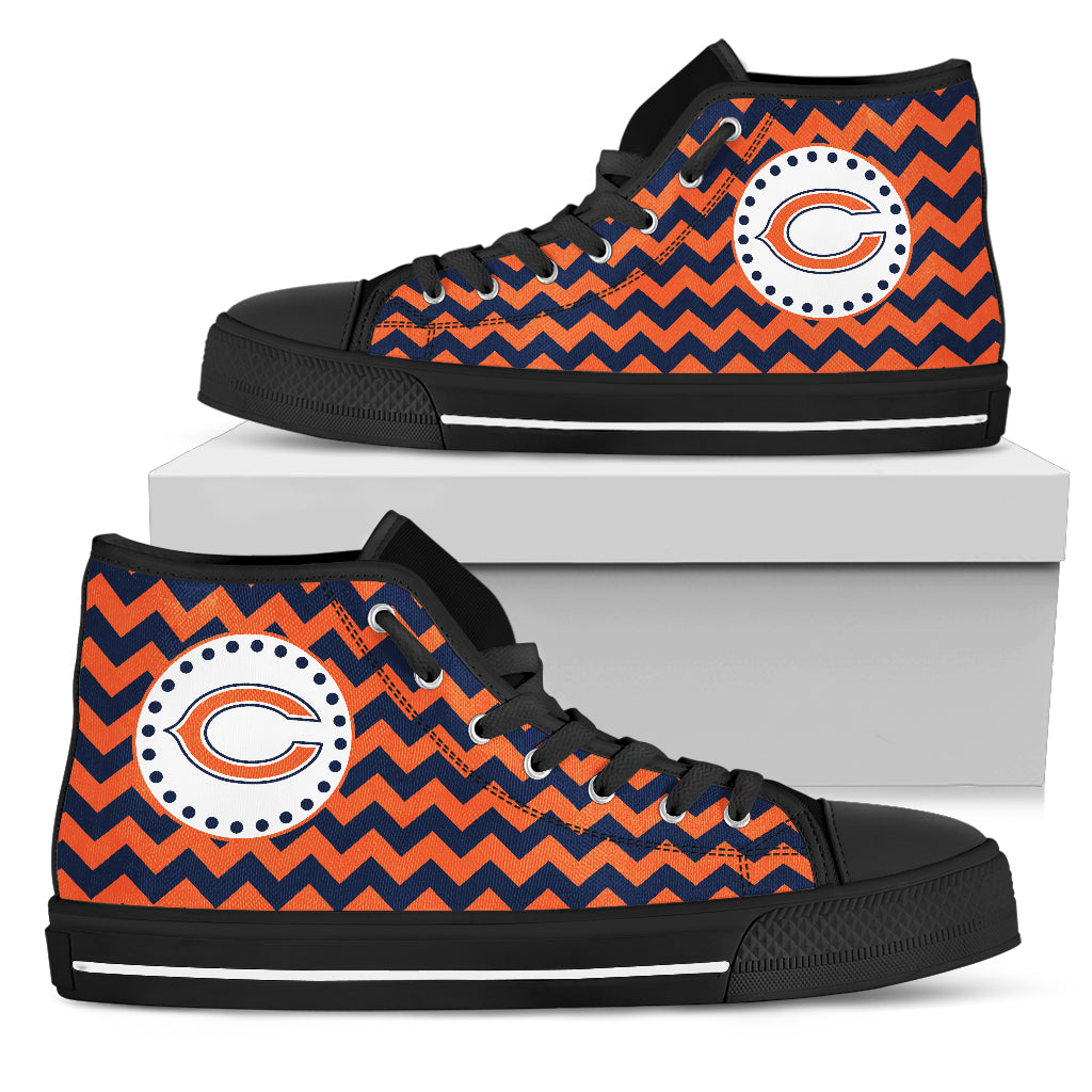 Chevron Broncos Chicago Bears High Top Shoes
