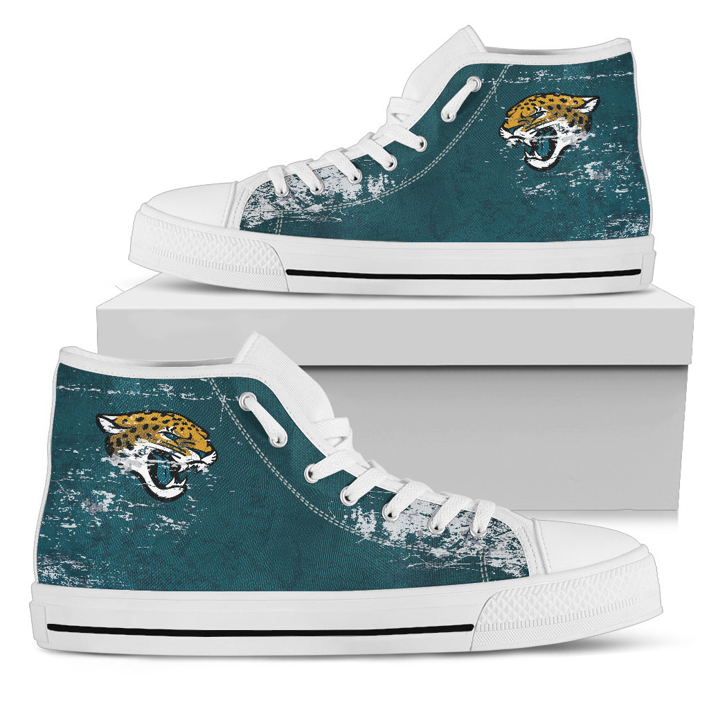 Grunge Vintage Logo Jacksonville Jaguars High Top Shoes