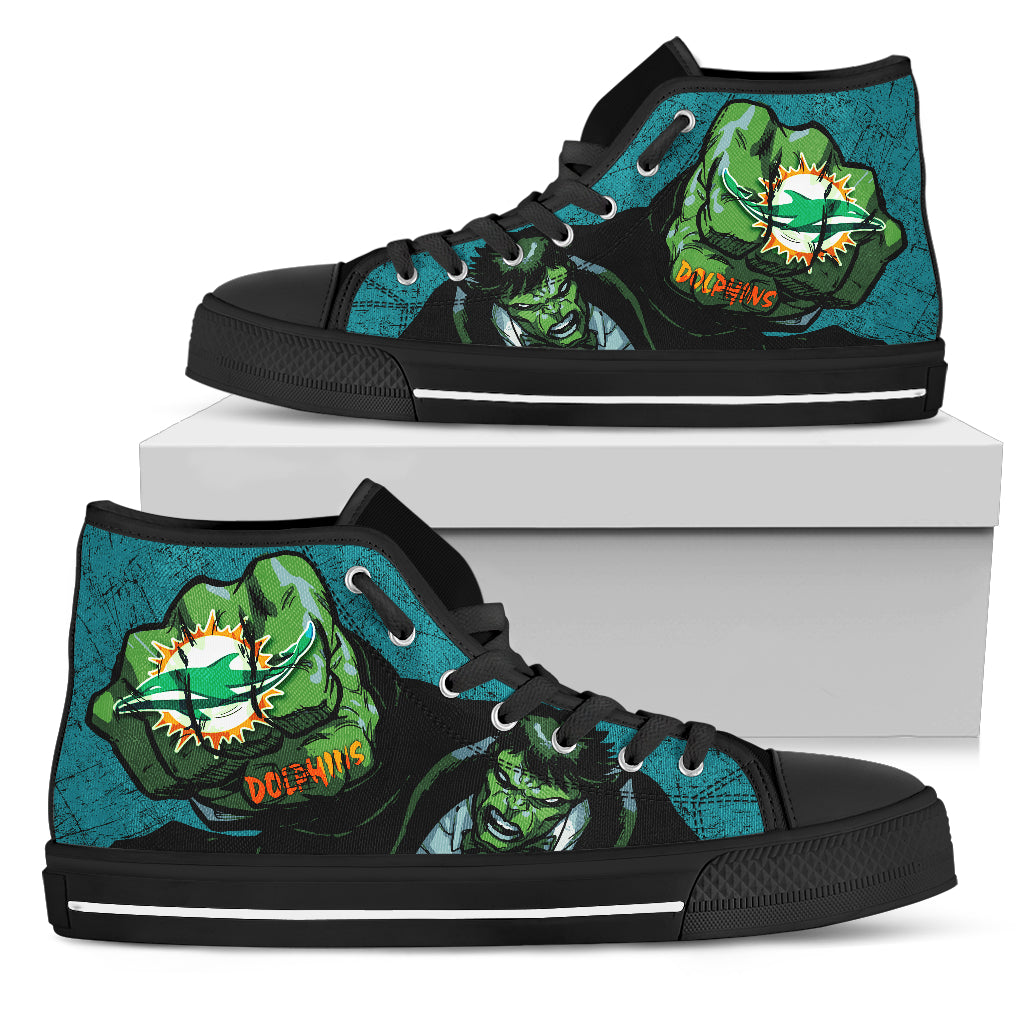 Hulk Punch Miami Dolphins High Top Shoes