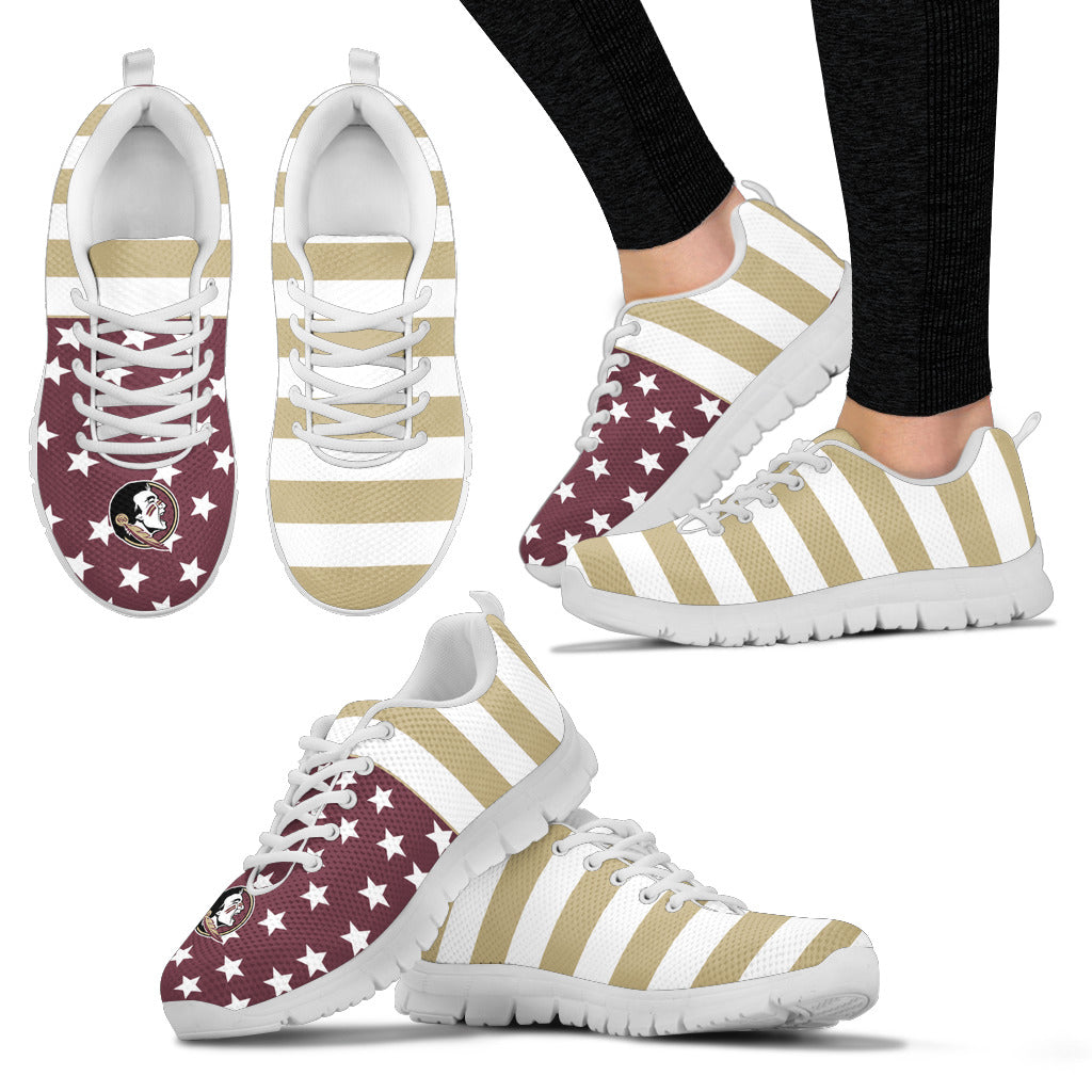 America Flag Logo Bottom Stripes Florida State Seminoles Sneakers