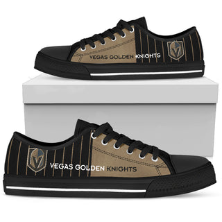Simple Design Vertical Stripes Vegas Golden Knights Low Top Shoes