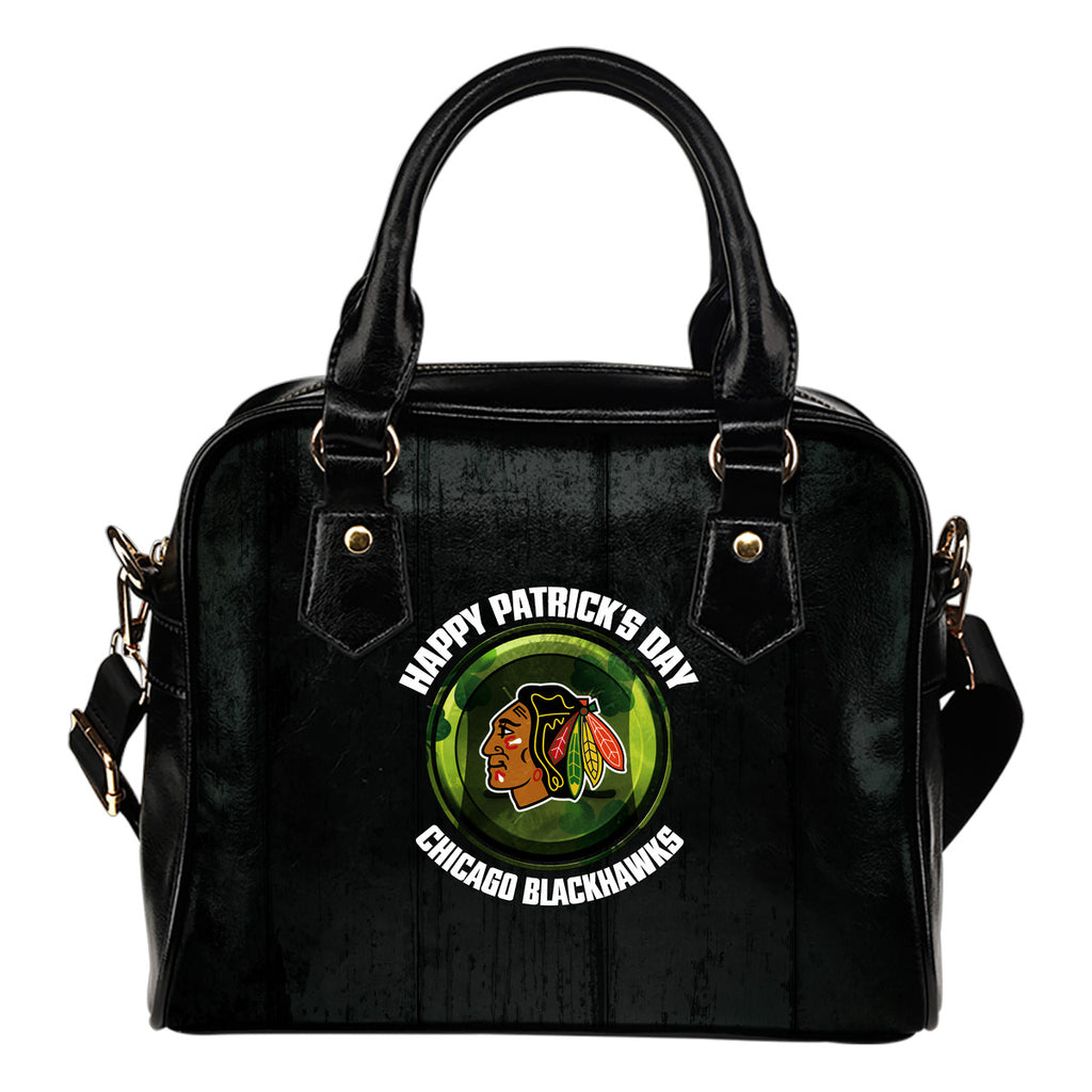 Retro Scene Lovely Shining Patrick's Day Chicago Blackhawks Shoulder Handbags