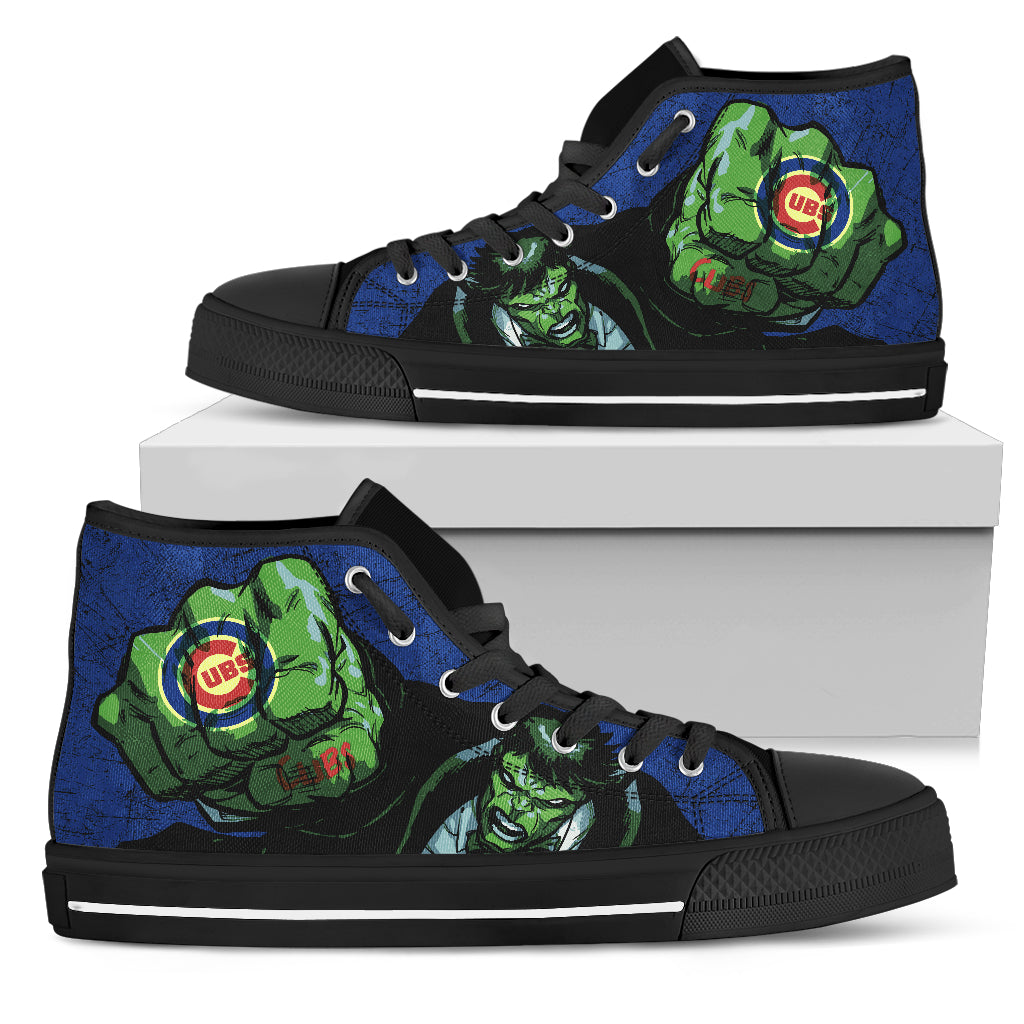 Hulk Punch Chicago Cubs High Top Shoes
