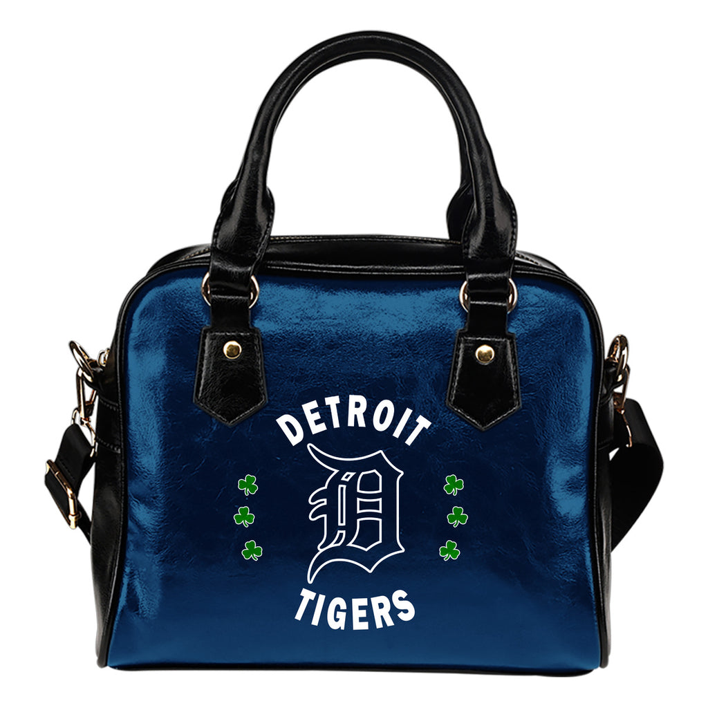 Central Beautiful Logo Circle Lucky Leaf Detroit Tigers Shoulder Handbags