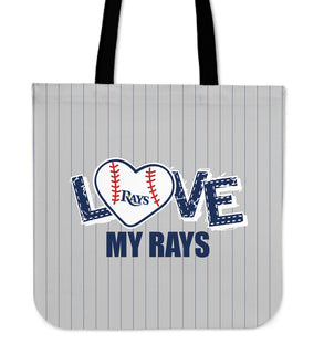 Love My Tampa Bay Rays Vertical Stripes Pattern Tote Bags
