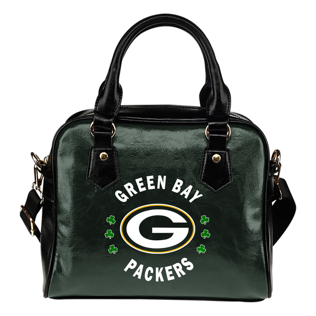 Central Beautiful Logo Circle Lucky Leaf Green Bay Packers Shoulder Handbags