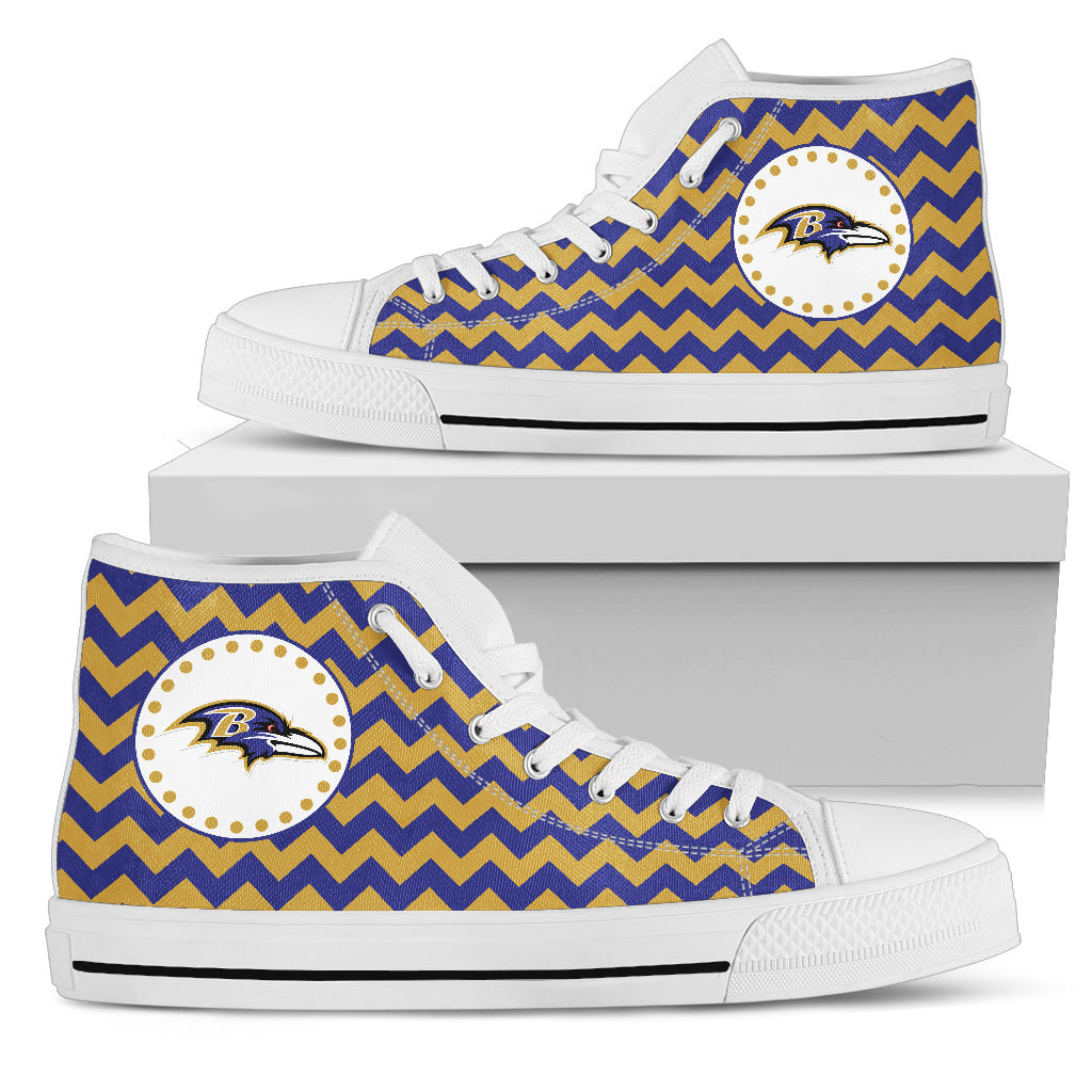 Chevron Broncos Baltimore Ravens High Top Shoes