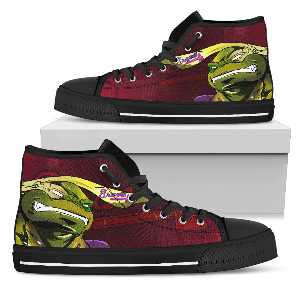 Turtle Atlanta Braves Ninja High Top Shoes