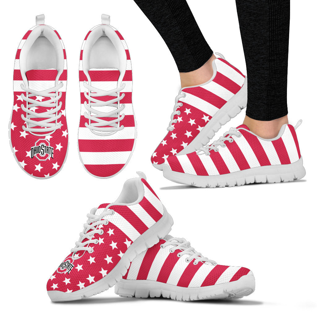 America Flag Logo Bottom Stripes Ohio State Buckeyes Sneakers