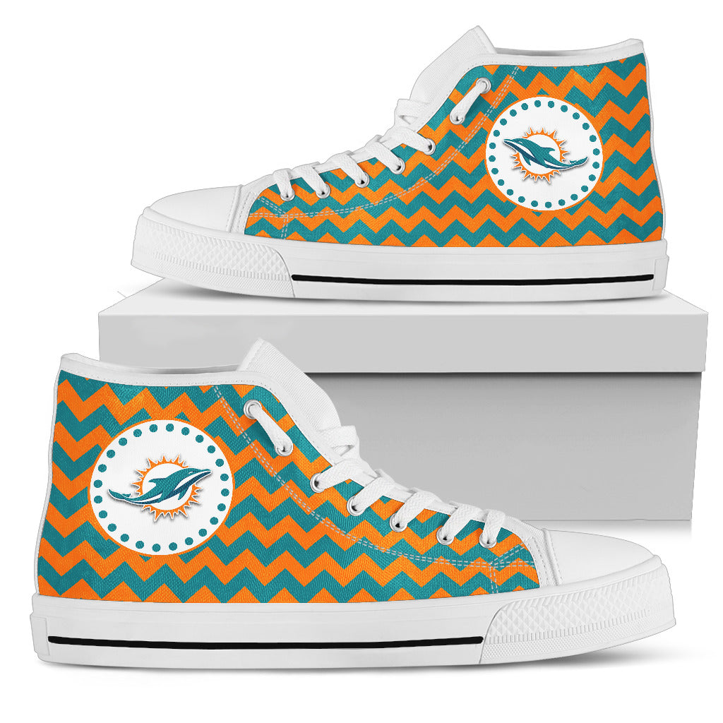 Chevron Broncos Miami Dolphins High Top Shoes