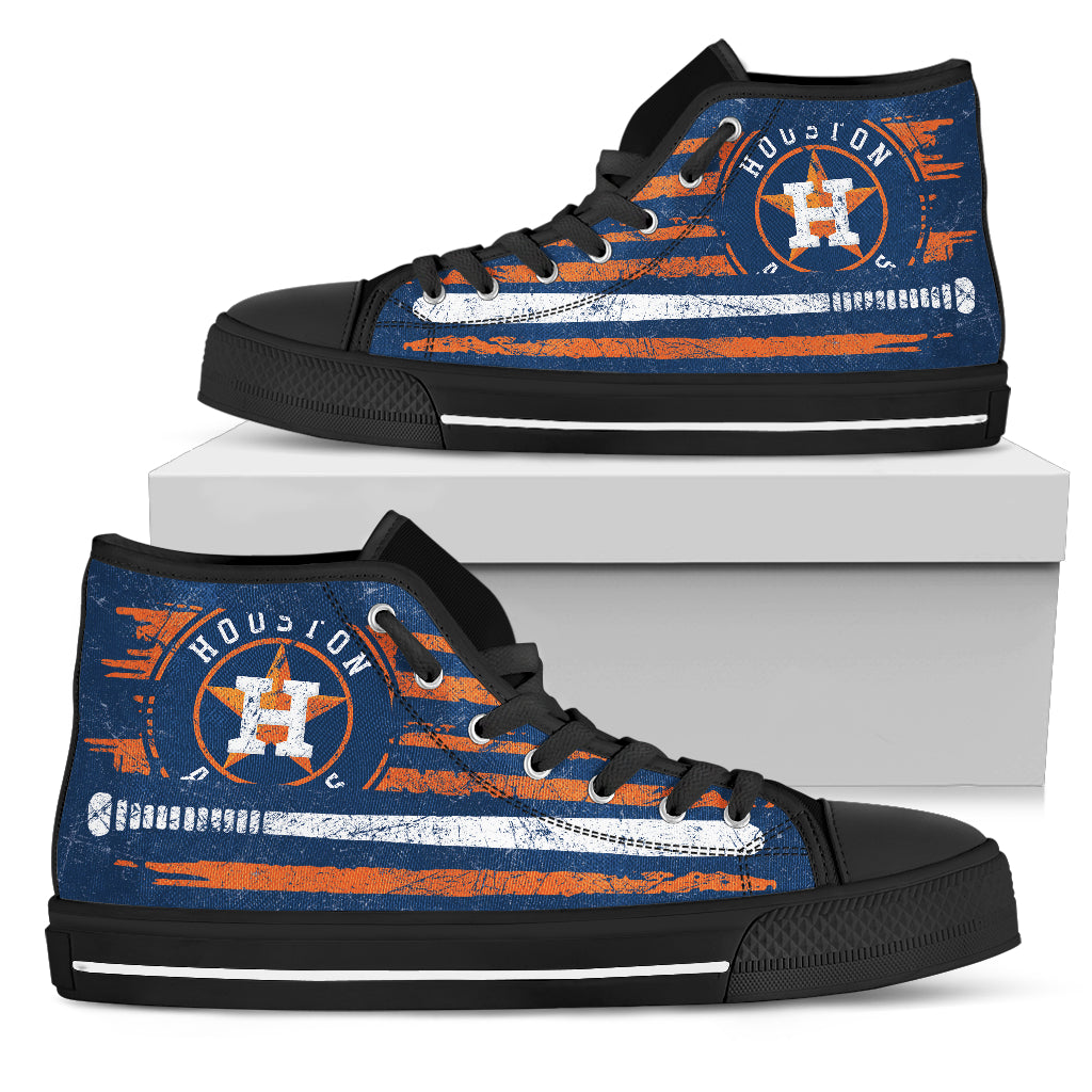 American Flag Vintage Baseball Houston Astros High Top Shoes