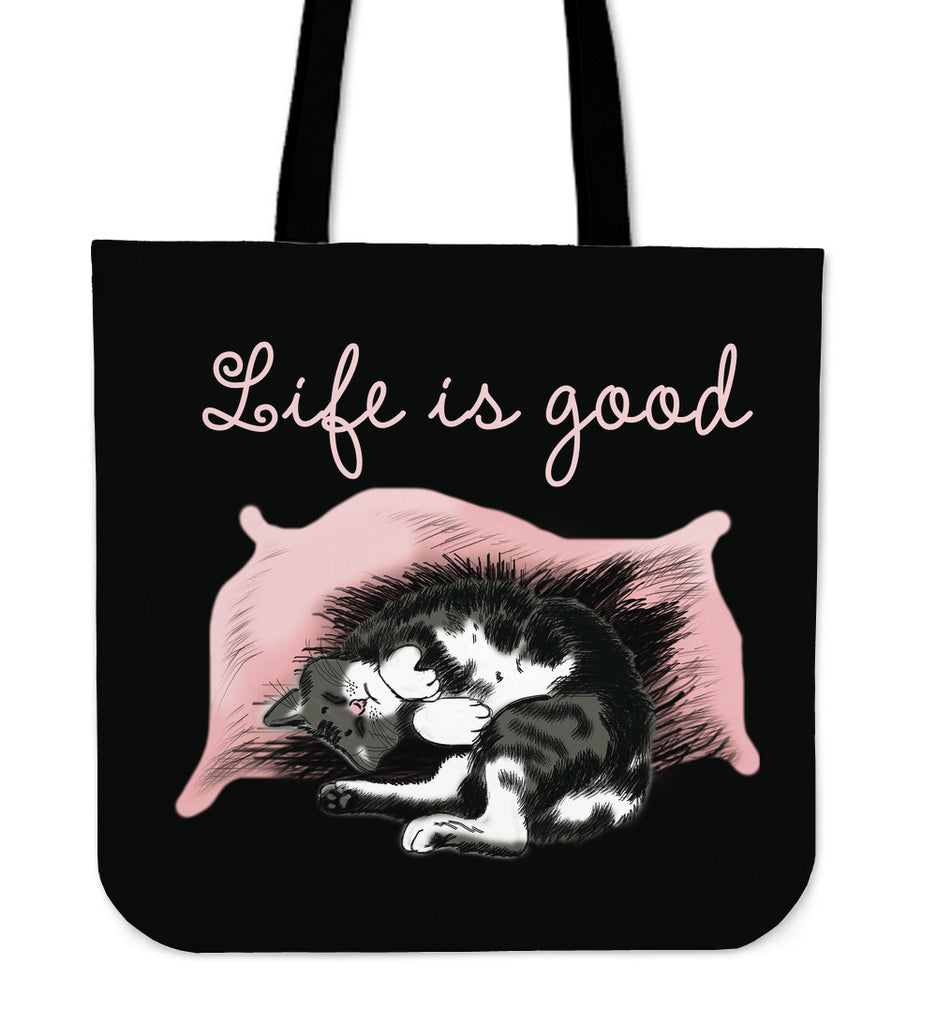 Life Is Good Cat Tote Bags